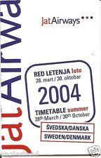 Airline Timetable - JAT Airways - 28/03/04 - Sweden Denmark Ed - S