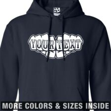 Custom Knuckle Tattoo HOODIE Personalized Fists Sweatshirt - All Sizes & Colors