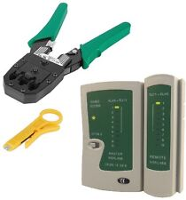 Network KIT Cat5e Cat6 Wire Cable Tester Test RJ45 Ethernet Crimping Crimp Tool