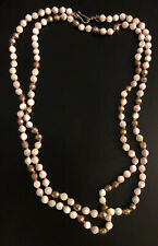 Chan Luu Pink Knotted White Bead Necklace Long Drop Necklace
