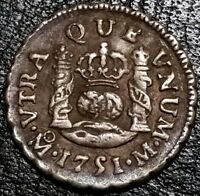 1751 Mexico 1/2 Real Milled Bust U.S First Silver Legal Tender Coin Ferdinand VI