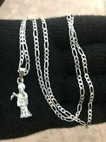 925 sterling silver santa muerte 24/inches  Chain USA Seller