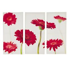 Set of 3 Triptych Red Flower Canvas Wall Art Flowers Picture Home Decor Print