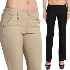 TheMogan S~3XL Straight Boot Leg Low Rise Stretch Trousers Work to Casual Pants