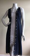 VINTAGE KNITS BY DAWN WOMEN SZ M 100% SUEDE STUDDED NAVY BLUE FULL LENGTH VEST