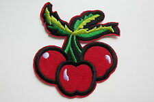 Cherry Bunch Iron On Patch 40s 50s Rockabilly PinUp Triple Cherries Fruit Red