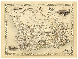 Old Vintage Map of South Africa richly illustrated Tallis 1851