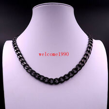 8mm 24'' Black Stainless steel Men's Curb Link Necklace chain Sport Jewelry