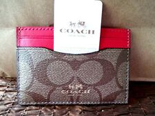COACH BROWN Bright Pink SIGNATURE C Logo Card Case ATM Card Wallet F63279