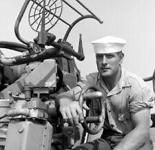 WW2 WWII Photo US Navy Gunners Mate 40mm  USS Edsall DE-129 World War Two / 7175