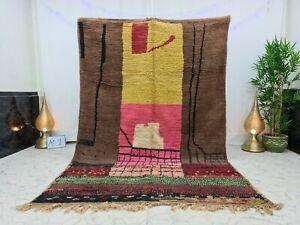 "Handmade Moroccan Vintage Boujaad Rug 6'2""x9'3"" Patchwork Brow Pink  Berber Rug"
