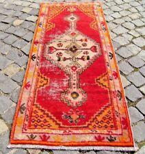 Vintage Turkish Oushak Rug 24'' X 57'' Anatolian Oushak Low Pile Area Rug