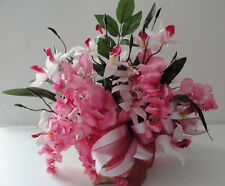 Wisteria Basket Japanese Pink White Orchids Silk Flower Arrangement Ribbon Bow