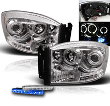 DODGE 2006-2009 RAM 1500 2500 3500 CHROME PROJECTOR HALO LED HEADLIGHTS+BLUE DRL
