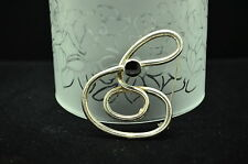 925 STERLING SILVER SWIRLY DESIGN WITH ONYX PIN BROOCH #X-12963
