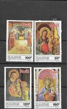 Zaire 1987 Christmas Paintings by Fra Angelico Virgin and Child Mnh Sc 1237-1240