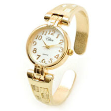 Gold Metal Decorated Band Women's Bangle Cuff Watch