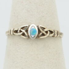 """Size 6.75 Mop Blue Red Fire Opal Handmade Vintage 925 Sterling Silver 0.2"""" Ring"""