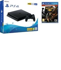 SONY PLAYSTATION 4 PS4 CONSOLE 500GB CHASSIS F SLIM HDR NUOVO NERO + SECOND SON