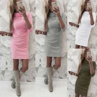 Womens Casual Long Sleeve Turtleneck Solid Dress Ladies Casual Mini Dress
