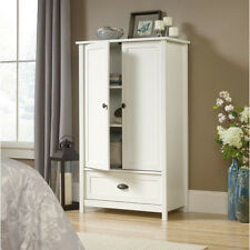 White Two Door Storage Armoire Cabinet Home Living Room Bedroom Furniture