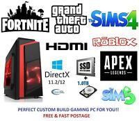 Fast Gaming PC Computer Intel Quad Core i7 16GB 120GB SSD 2TB 2GB GTX 710