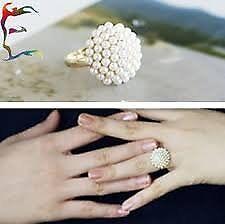 Juwelen-Korea stijl Pearl Rings Resizable vinger Ring inclusief geschenkdoos