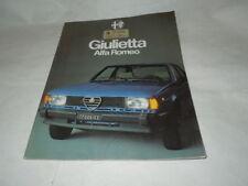 """PUBBLICITA' AUTOMOBILI  """"ALFA ROMEO GIULIETTA LA LINEA DEGLI ANNI'80""""  IMPERD."""