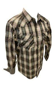 Men RODEO WESTERN BEIGE BROWN PLAID POCKETS Long Sleeve SNAP UP Shirt Cowboy 427