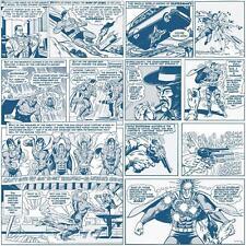 GALERIE SUPERMAN COMIC STRIP PATTERN VINTAGE CHILDRENS WALLPAPER BLUE WHITE
