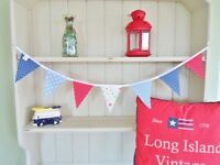 Cath Kidston Fabric Bunting Vintage Nautical Red White Blue Girls Boys Bunting !