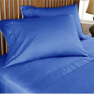 Royal Blue Solid King Size 4 Pc Sheet Set 1000 Thread Count 100% Egyptian Cotton