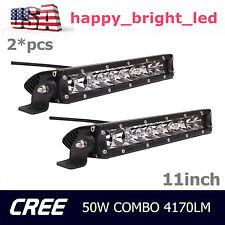 2X 11inch 50W Single Row LED Light Bar Spot Flood Combo Driving SUV Ford Bumper