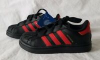 eebb26796730 Adidas Superstar Toddler Black with Red Sneaker Shoes Toddler Size 7