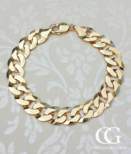 Men's Solid 9ct Yellow Gold Chunky Curb Bracelet 8.5""