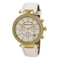 Michael Kors Women's Watch Parker Chronograph White Dial Leather Strap MK2290