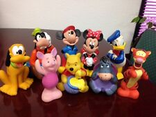 Vintage Lot of 9 Disney Characters Squeaky Toys Mickey Minnie Pooh Tigger & More