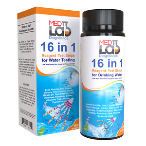 16 in 1 Drinking Water Test Kit Strips, 100 cnt. Home Water Quality Test for Tap