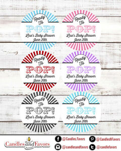 Ready To Pop® Round Personalized Baby Shower Sticker Labels   Circus Stripes