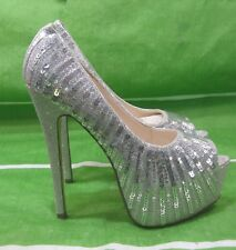 "new silver Sequin 6""Stiletto High Heel 2""Platform Open Toe Sexy Shoes Size 8.5"