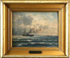 Romain Steppe (1859-1927) Marinemotiv mit Damfschiff Antike Maritimer Ölgemälde