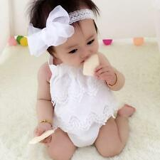 Summer Newborn Toddler Baby Girl Lace Romper Jumpsuit Christening Clothes Outfit