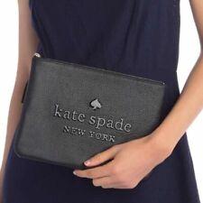 Kate Spade Sienne Logo Large Tassel Pouch Black Leather Wlru5605