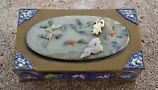 Chinese Export Cloisonne Semi Precious BRASS TRINKET Opening Large BOX Jewelry