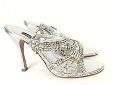 Claudio Milano Leather Sandal Silver Crystal Size 40 Italy #294
