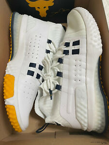 NEW Men's UA Project Rock 1 Training Shoes White Yellow 3020788-108 Size 10