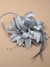 grey  Feather Flower facinator with beads on a Beak Clip & brooch pin
