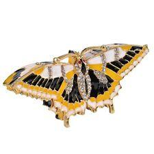 Crystal Jeweled Enameled Butterfly Metal Trinket Box Wedding Gift Hand Printed