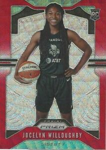 2020 WNBA PANINI * JOCELYN WILLOUGHYBY RUBY WAVE PRIZM PARALLEL ROOKIE CARD #98