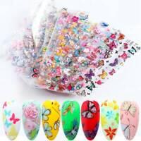 10PCS BUTTERFLY FLOWERS Nail Art Foils Nail Transfer Foil Decal Glitter Sticker.